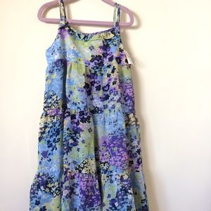 NWT Girls Purple Watercolor tiered dress